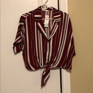 Slightly cropped red striped blouse
